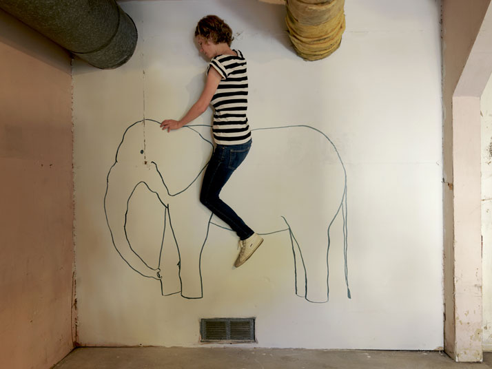 Elephant Ride, 2014; c-print, 25' x 34''. Courtesy of Lee Materazzi.