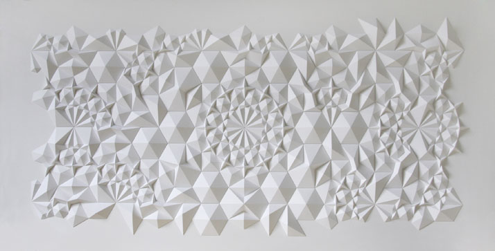 117 apo, 2013; paper 19 x 40 x 1/2 inches. Photo courtesy of Matt Shlian.