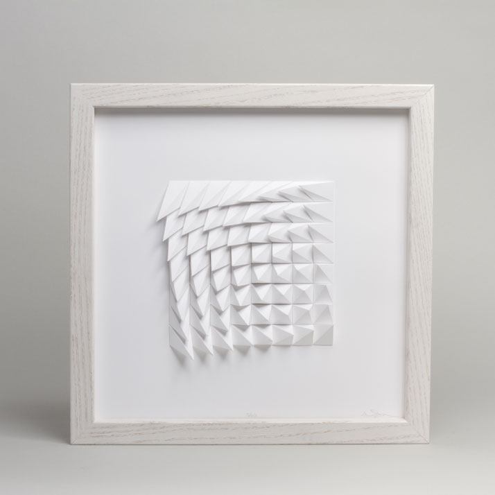 Extraction 1 White, 2012; paper 12 x 12 x 1 inches. Photo by Cullen Stephenson.