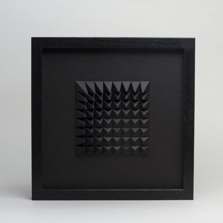 Extraction 2 Black, 2012; paper 12 x 12 x 1 inches. Photo by Cullen Stephenson.