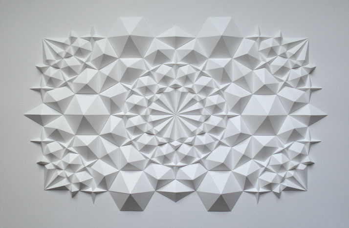 Ara 117, 2012; folded paper 19 x 25 x 1 inches. Photo courtesy of Matt Shlian.