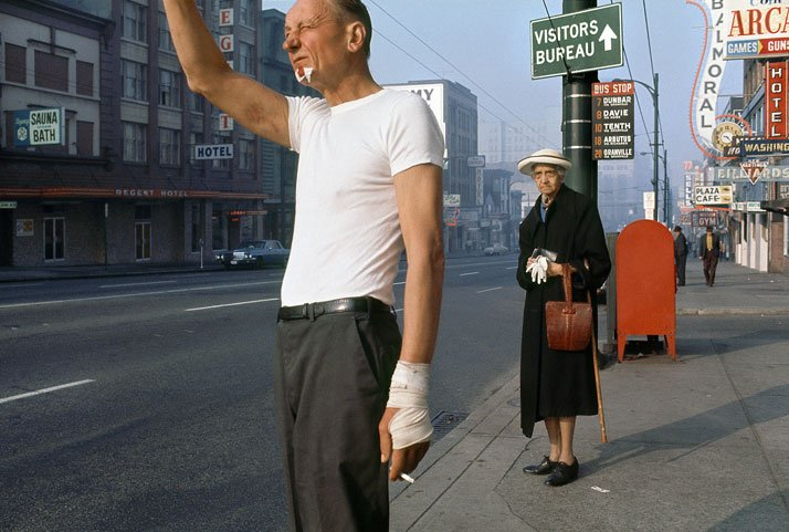 Fred Herzog: Man with Bandage, 1968. Courtesy of Equinox Gallery, Vancouver. © Fred Herzog, 2014.