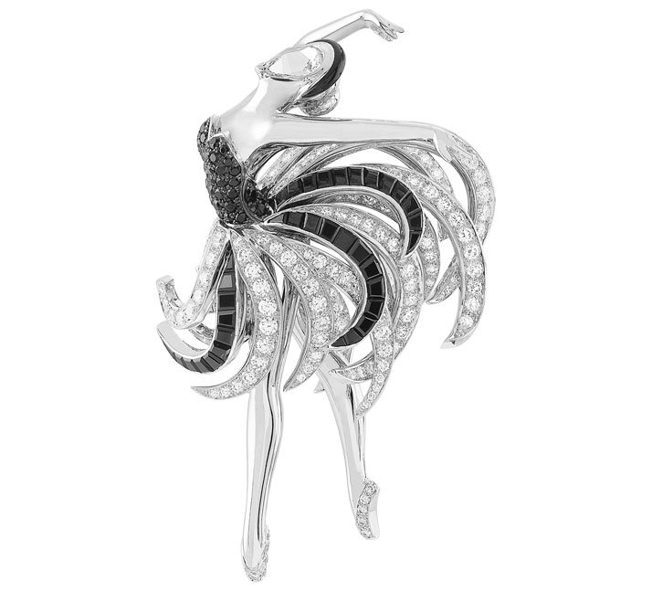 Odile  Ballerina clip, white gold, round, baguette-cut and pear-shaped  diamonds, round, pear-shaped and baguette-cut black spinels, onyx, black  lacquer. Photo courtesy of Van Cleef & Arperls.