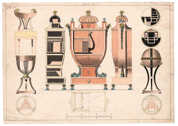 Friedrich Paulick d. Ä.: Ground plans, front views, and cross sections of a secretaire, a small work table, a small globe table, and chair. Vienna, ca. 1815/20. Photo © MAK/Georg Mayer.
