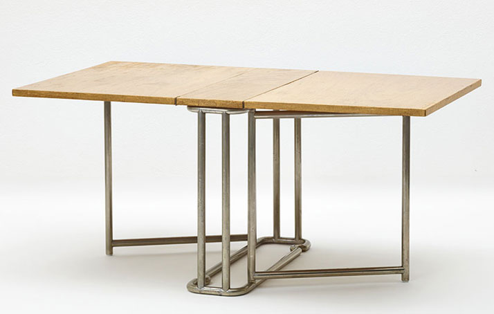 Ernst A. Plischke: Drop-leaf table; shown at the Werkbund Exhibition in the Austrian Museum of Art and Industry, 1930. Execution: J. A. Wendl (locksmith) and Anton Kolbek (cabinetmaker). Ernst A. Plischke estate. Photo © MAK/Georg Mayer.