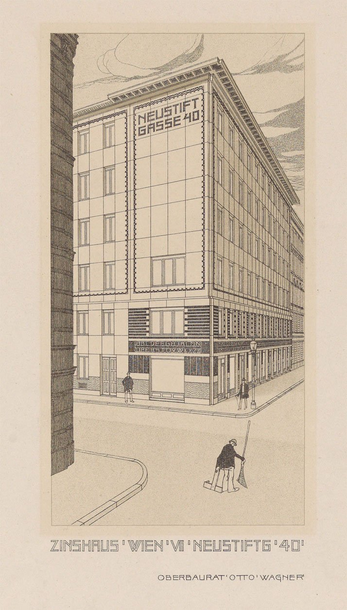 Otto Wagner: perspective drawing of the apartment building at Neustiftgasse 40, Vienna, 1909. © Wien Museum.