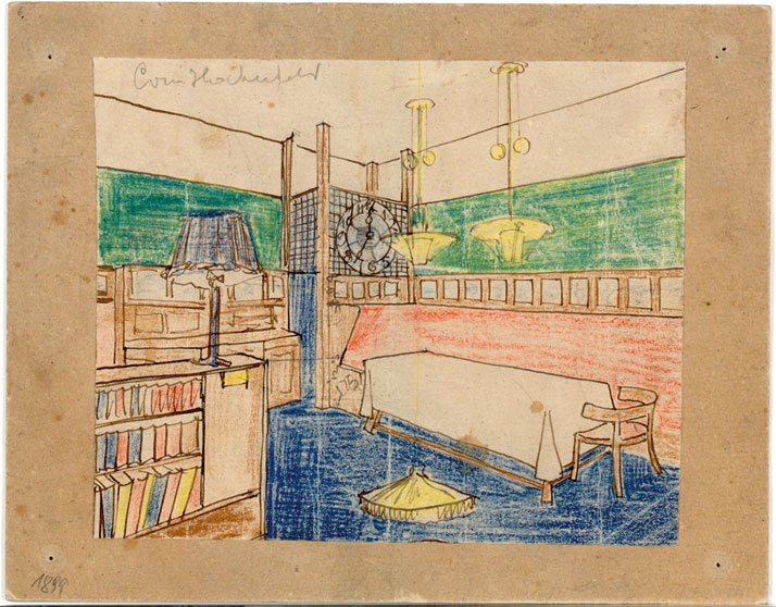 Adolf Loos: design for the dining room of the Haberfeld apartment, Vienna, 1899. © Albertina, Wien.