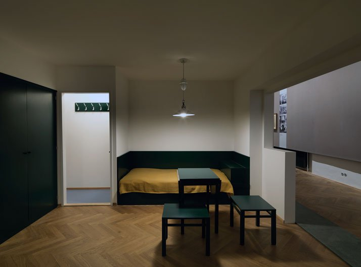 Margarete Schütte-Lihotzky: Working single woman's apartment, floor plans of types, 1927–1928 (reconstruction). Exhibition view at MAK, 2014. © Peter Kainz/MAK