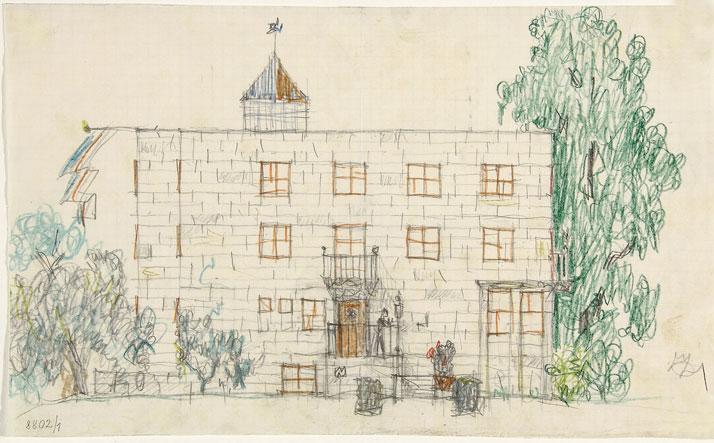 Josef Hoffmann: Eduard Ast country house, Aue near Velden at the Wörthersee, facade designs and floor plan, 1923–1924. Photo © MAK/Georg Mayer.