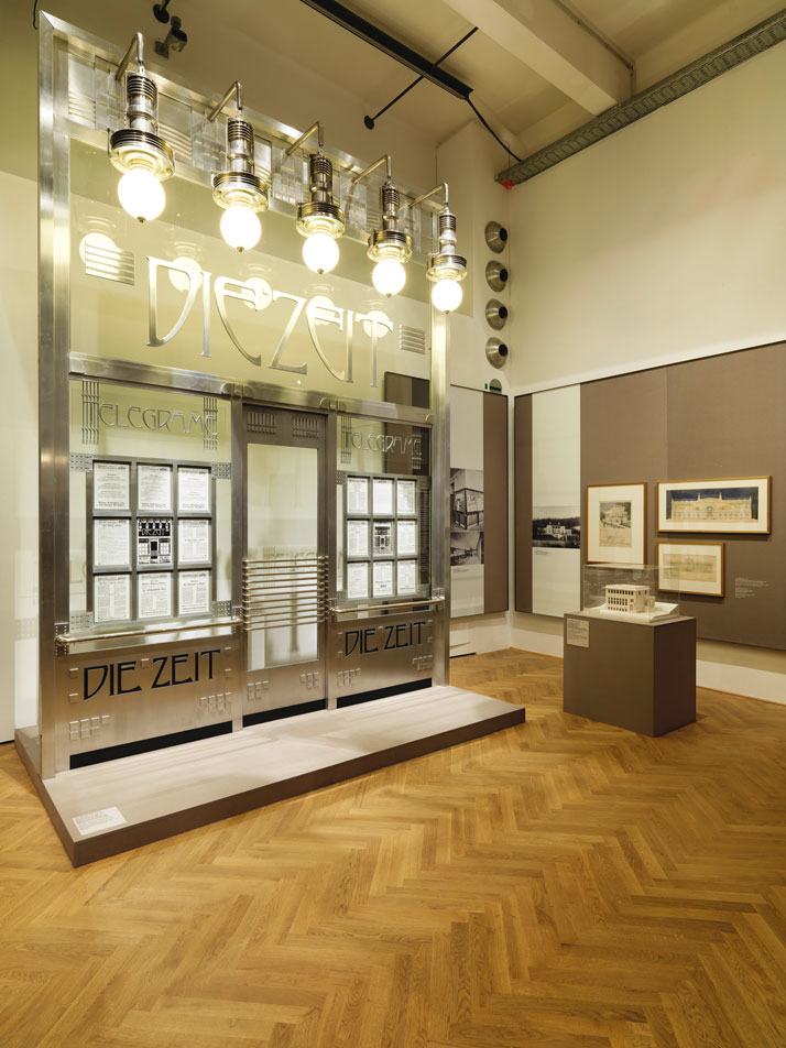 "Exhibition view at MAK, 2014. In the front: Otto Wagner, Façade reconstruction of the ""Die Zeit"" dispatch office, 1902. Following plans by Alfred Krischanitz and Otto Kapfinger, 1985, Wien Museum. © Peter Kainz/MAK."