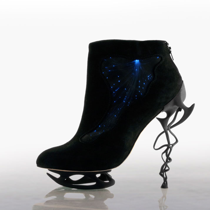 Anastasia Radevich, 'Kinetik' collection, with fiber optic lights embedded in the shoe. Photo courtesy of Anastasia Radevich.