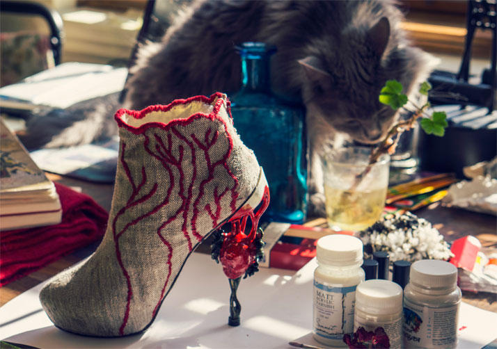 A shoe from the 'Alchemy' collection in Anastasia Radevich's studio. Courtesy of Anastasia Radevich.