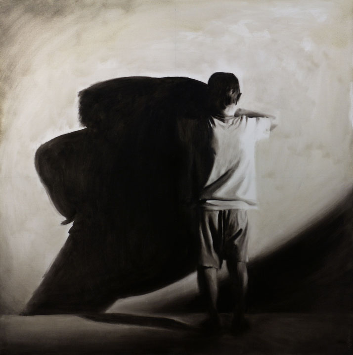 Markos Blatsios, Never say never; oil on canvas, 100 x 100 cm. Courtesy of the artist and Gallery Genesis, Athens.