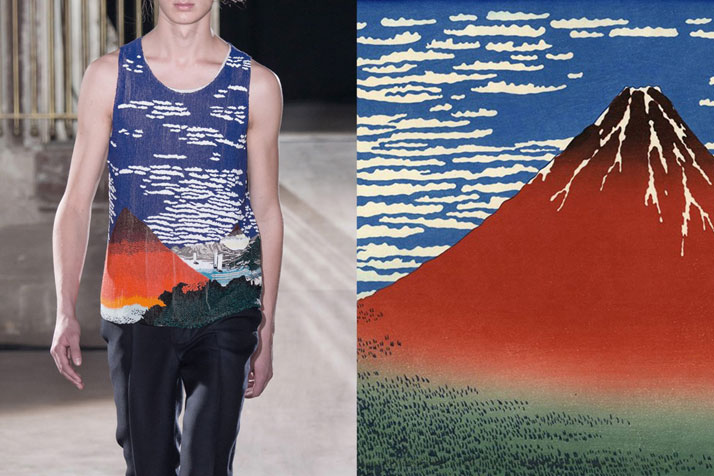 Match #203Raf Simons Spring 2015 | Fuji, Mountains in clear Weather (Red Fuji) by Hokusai