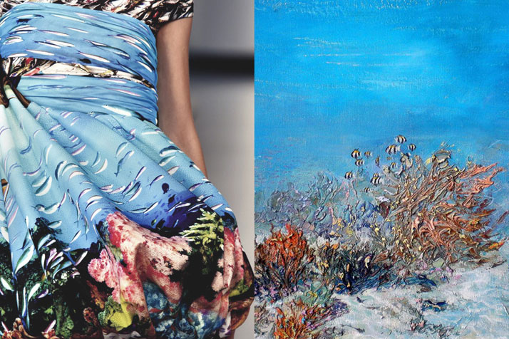 Match #201Details at Mary Katrantzou Spring 2012 | Underwater painting by ALEXANDER BELOZOR.