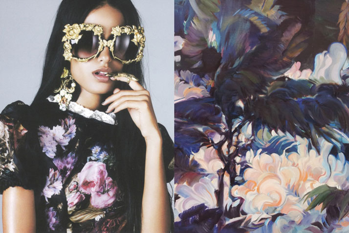 Match #167Lakshmi Menon by Nagi Sakai for Please! Magazine | Wavy branches by POSTLLS, oil painting, 2014