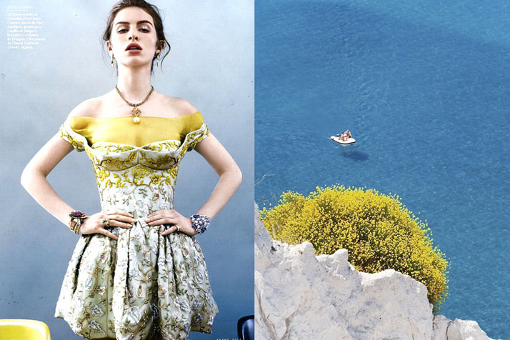 Match #160Tali Lennox by David Slijper for Vanity Fair Spain January 2013 wearing Christian Dior Haute Couture | View from Lipari, Aeolian Islands in