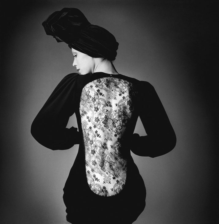 Marina Schiano wearing short evening dress from Fall-Winter 1970 collection. Photo © The Estate of Jeanloup Sieff.