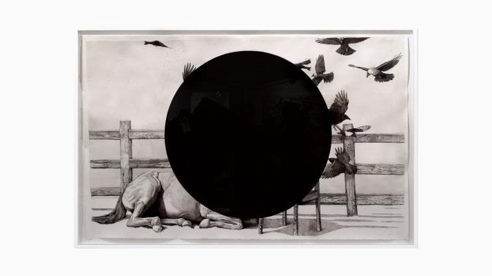 Eckart Hahn, KOPPEL, 2014. Ink on paper, 113 x 184 cm. Photo courtesy of Wagner + Partner Berlin.