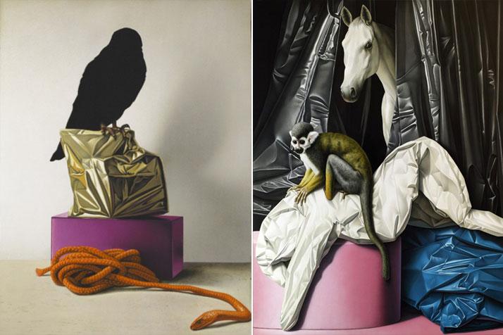 Left: Eckart Hahn, Nighthawk, 2013. Acrylic on canvas, 70 x 50 cm. Photo courtesy of Wagner + Partner Berlin.Right: Eckart Hahn, ALB, 2012. Acrylic on canvas, 200 x 150 cm. Photo courtesy of Wagner + Partner Berlin.
