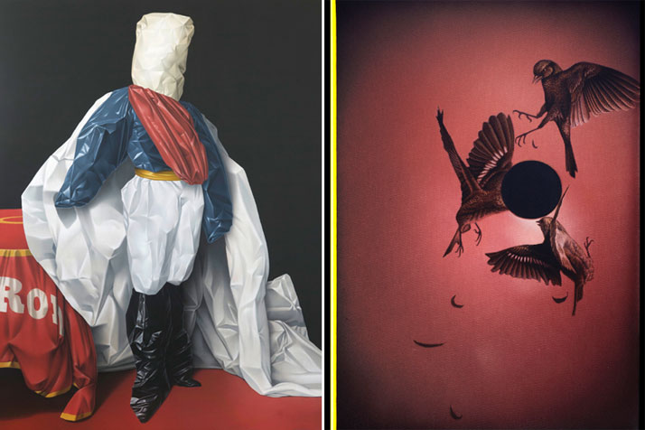 Left: Eckart Hahn, Lord, 2010. Acrylic on canvas, 200 x 150 cm. Photo courtesy of Wagner + Partner Berlin.Right: Eckart Hahn, Black Moon, 2014. Acrylic on canvas, 50 x 35 cm. Photo courtesy of Wagner + Partner Berlin.