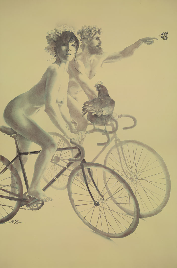 Alexandra Becker-Black, World Naked Bike Ride, 2013. Watercolour, 28 x 42 inches. Courtesy of the artist.