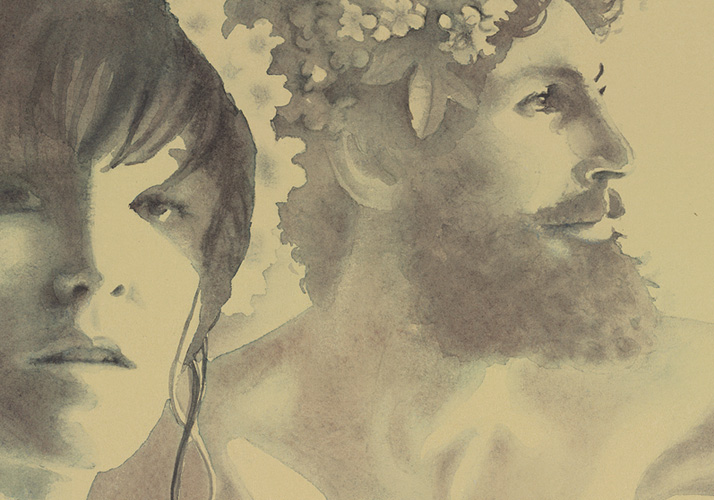 Alexandra Becker-Black, World Naked Bike Ride (detail), 2013. Watercolour, 28 x 42 inches. Courtesy of the artist.