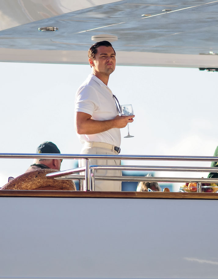 Photo from the book The Stylish Life - Yachting, published by teNeues. Leonardo DiCaprio films The Wolf of Wall Street with Martin Scorsese on a yacht in New York City, Photo © J.B. Nicholas/Splash News/Corbis.