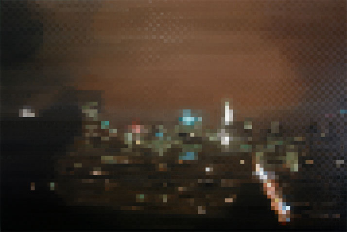Peter Buechler, NY night, 2014. Oil on canvas, 200x300cm. Photo courtesy of the artist.