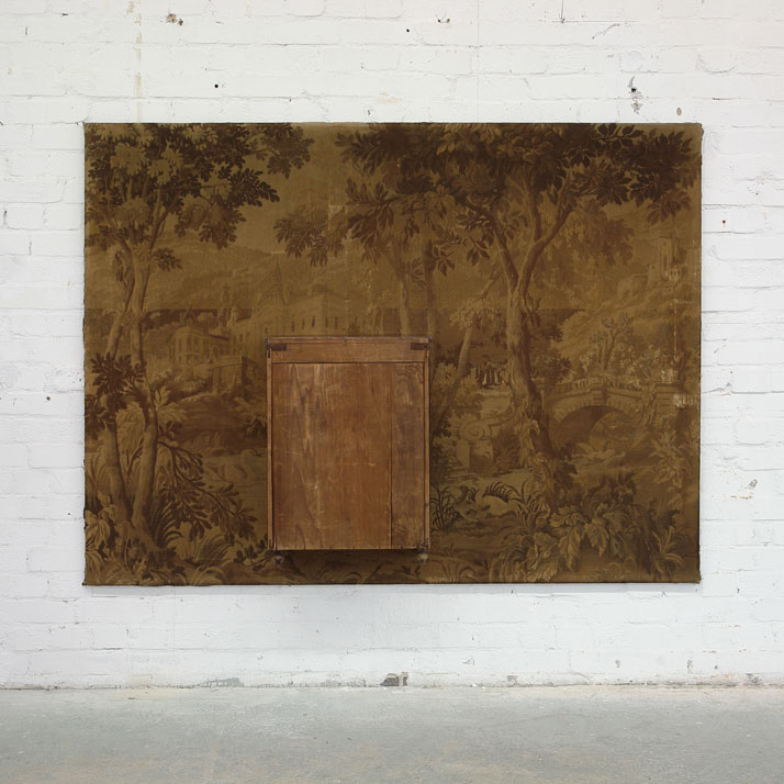 Peter Buechler, Untitled, 2013. Gobelin tapestry, cupboard, photos (inside cupboard) 146x196x31cm. Photo courtesy of the artist.