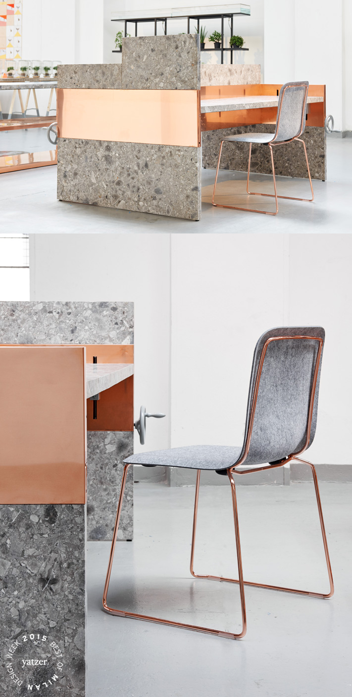 UNM (You and Me) by Nina Graziosi for Lensvelt. A no-nonsende system of workdesks whith the technique hidden in the central panel, which creates the ability for the architect to perform the side panels of the desk in any desired material. For example marble and copper. THIS CHAIR FELT by Richard Huttem for Lensvelt. A 'renaissance'; of This Chair, the multifunctional chair that Richard Hutten designed for Lensvelt in 2005. The chair is born again... but now with a felt seating.