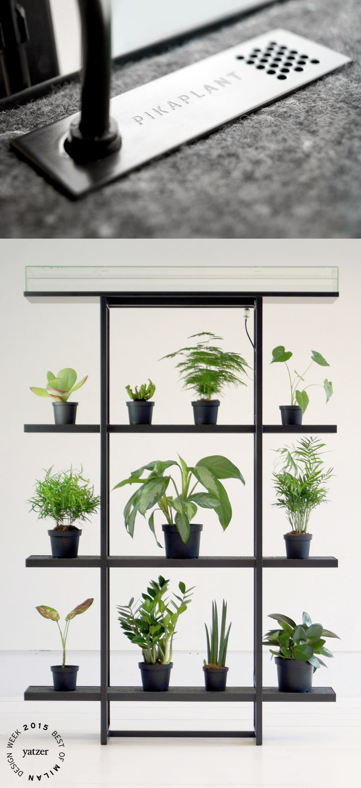 Pikaplant One vertical garden with a passive ebb-and-flow irrigation system by Pikaplant.