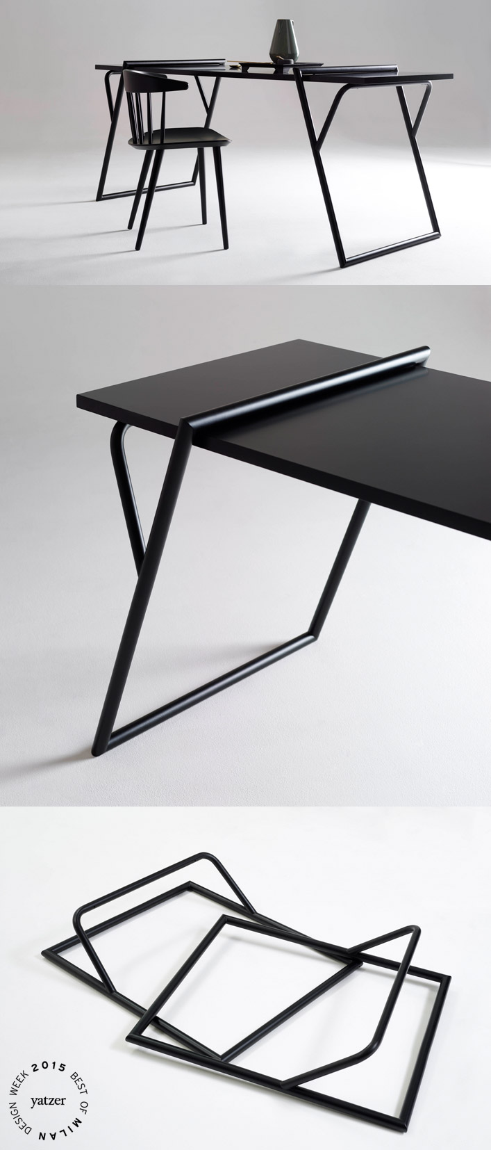 Quadra by Luis Arrivillaga. ''Legs'' with an invisible design, universally suitable for supporting any type of table top.