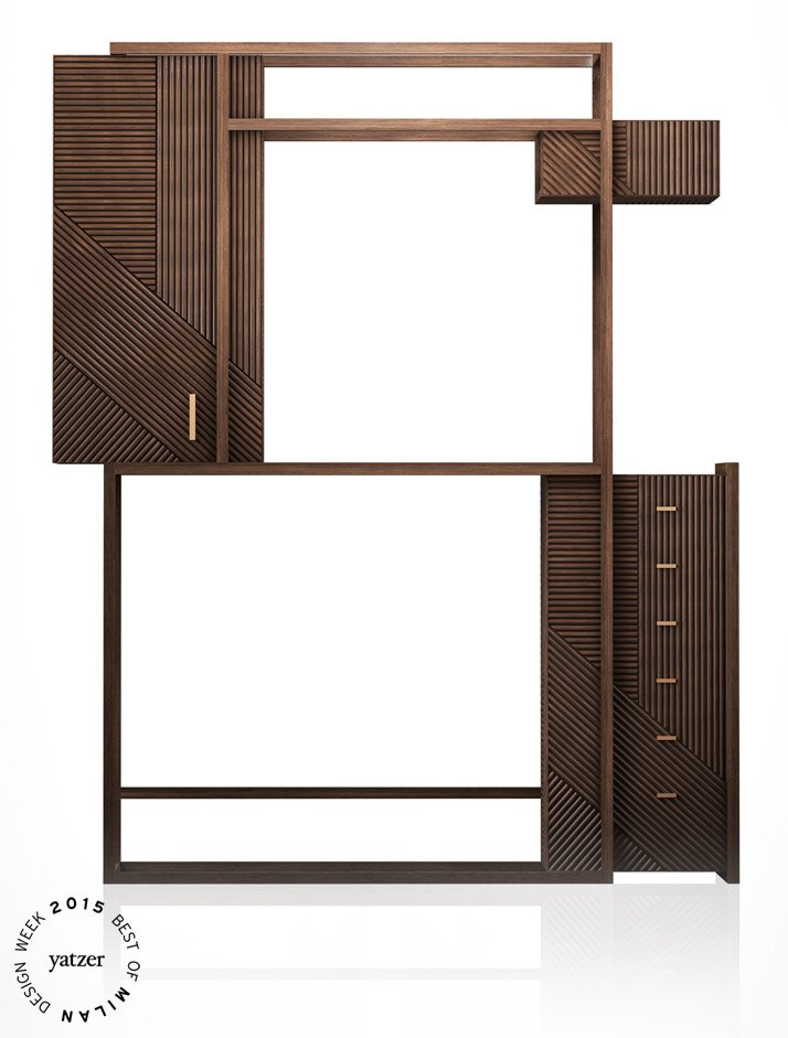 HAMPTON cabinet (oak and burnished metal) by Hangar Design Group for Rossato.
