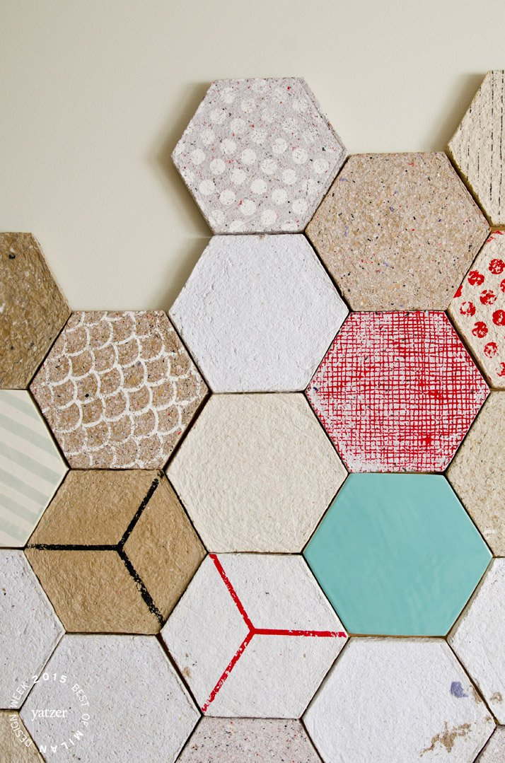Wallpapering tiles made from recycled paper by Dear Human.