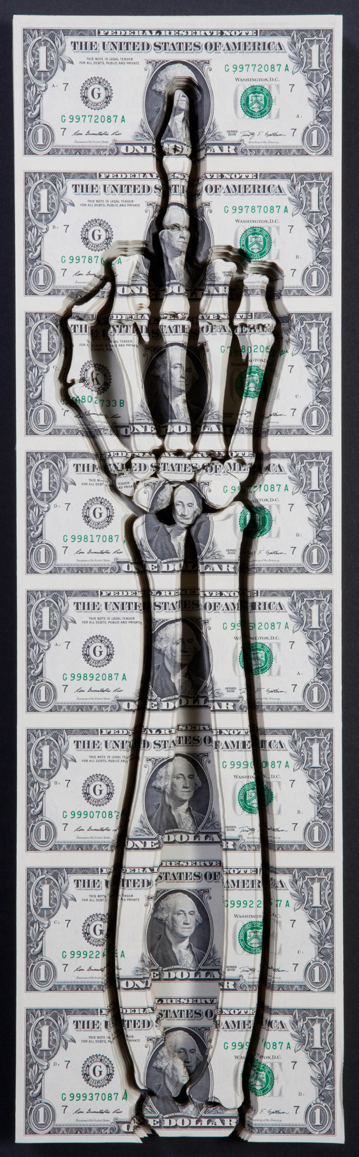 Good  Morning, 2011. By Scott Campbell. Lasered uncut US currency. From the  book 'Forever: The New Tattoo'. Copyright Gestalten 2012.