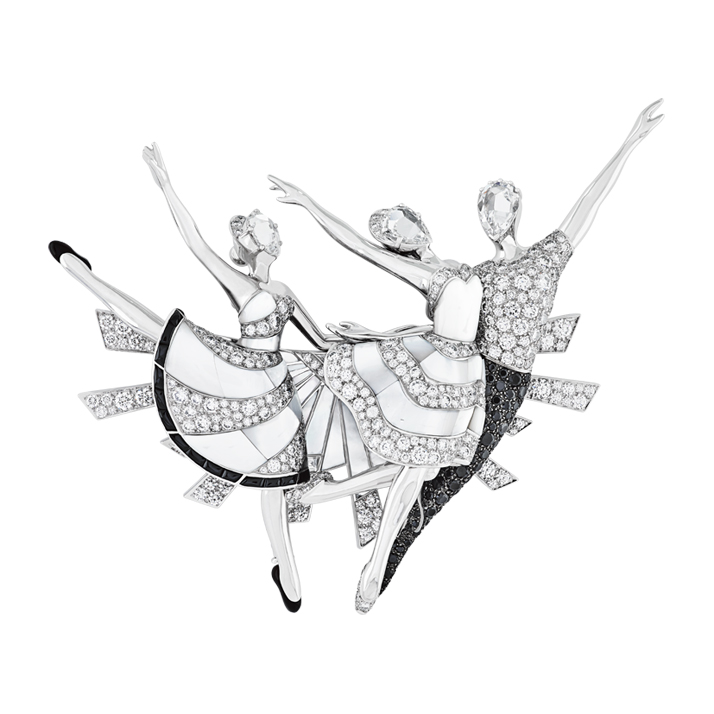 A signature Van Cleef and Arpels 'Ballerinas' clip. Photo © Van Cleef & Arpels.