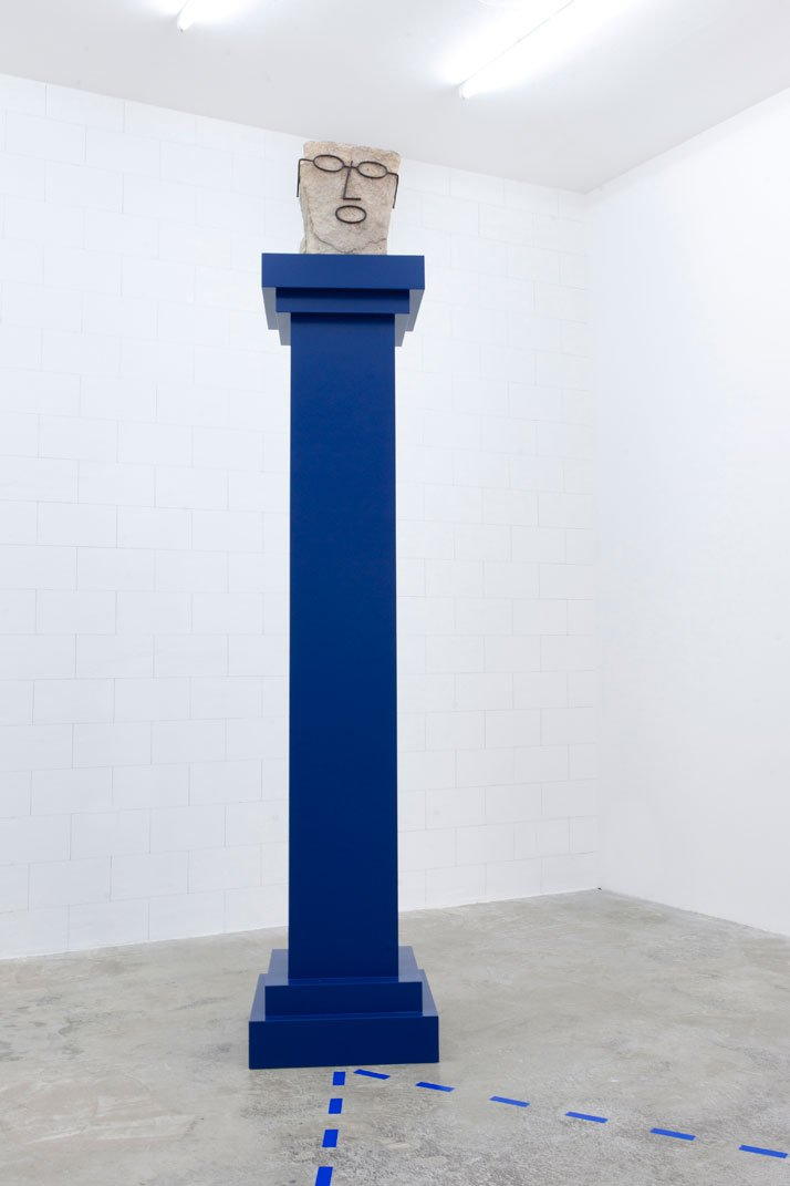 Honza Zamojski, Father God, 2014. Stone, steel, painted MDF column, h. 265. Photo: courtesy the artist.