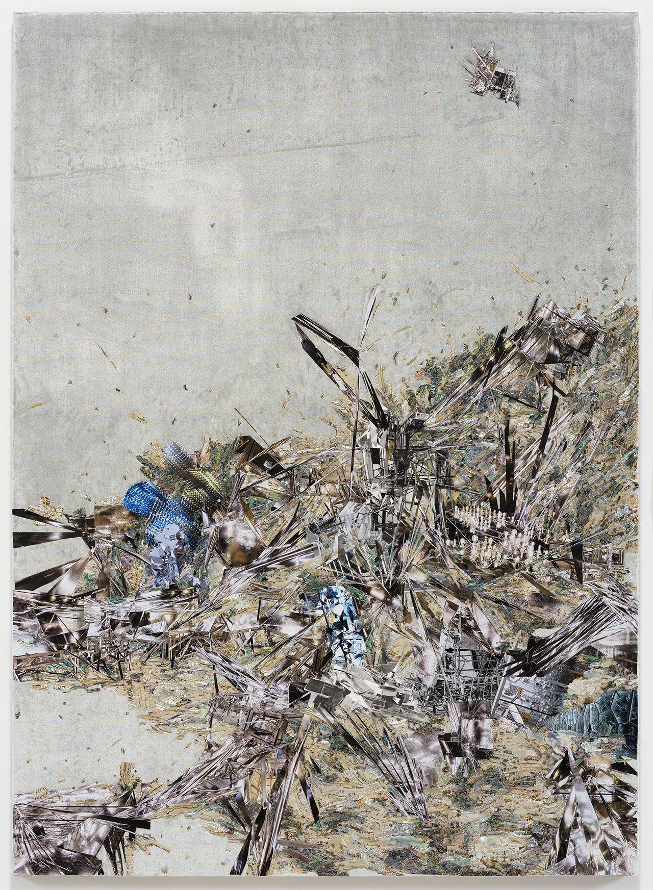 Untitled (Willing To Be Vulnerable - Velvet #9 JTVP 3582/23 CE), 2019 Mother of pearl, acrylic paint, collage on silk velvet, 180 x 130 cm (194 x 144 x 12 cm with frame). The Rachel and Jean-Pierre Lehmann Collection Photo: Jeon Byung-cheol. Photo courtesy: Lehmann Maupin, New York, Hong Kong, Seoul and London