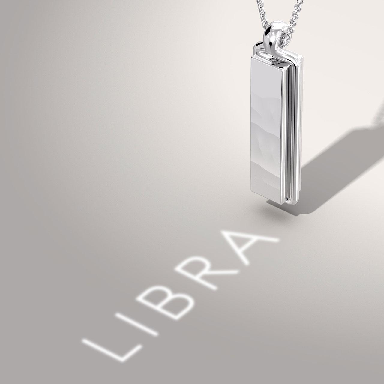Pendant Bar Bold Zodiac Libra White Gold © THE RAYY
