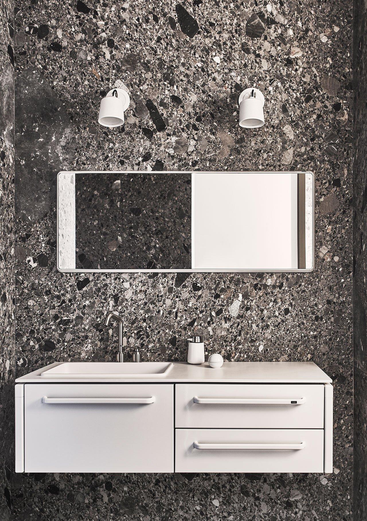 Photography by Adrian Gaut.Styling by Colin King. © Vipp Second bathroom: Ceppo stone, Vipp Bathroom Module, medium, Vipp Bathroom Mirror, large, Vipp Spot Lights.