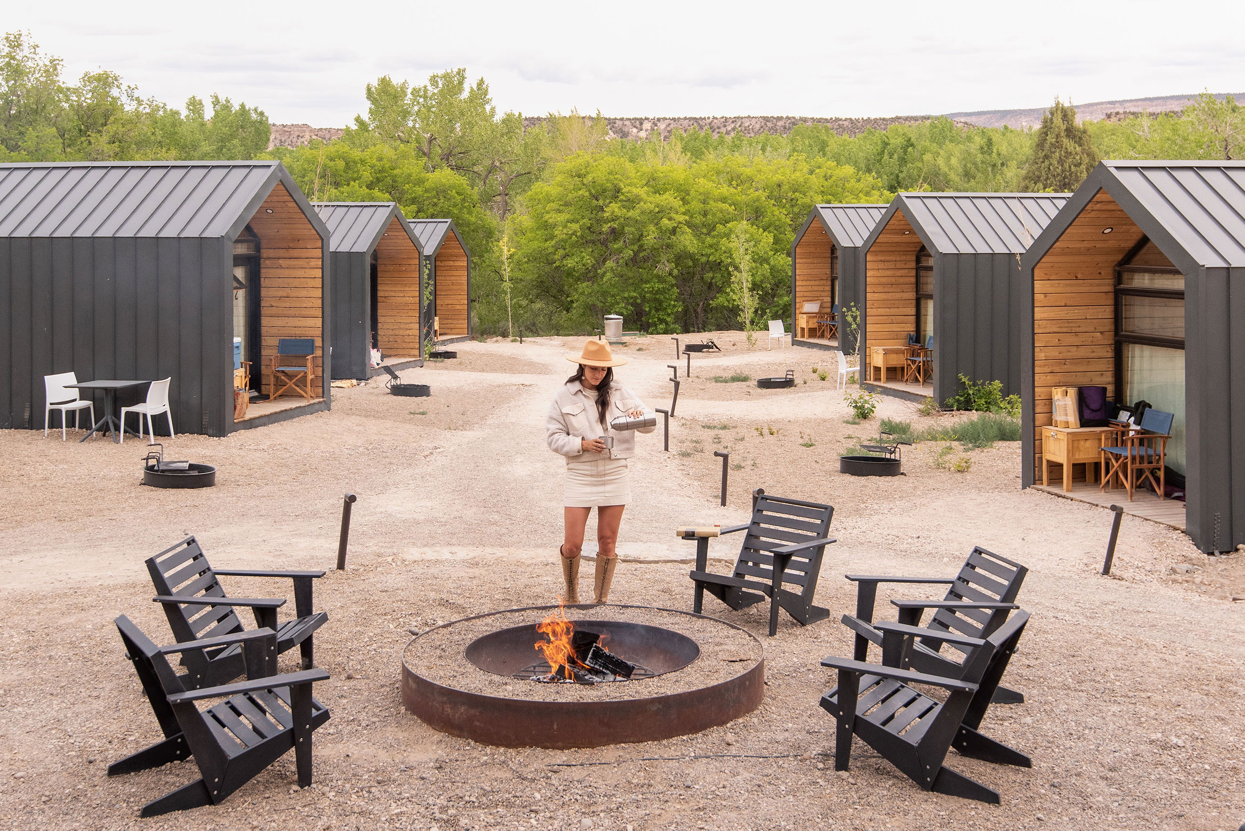 Cabins and Fire Pit.Photography by Kim and Nash Finley.
