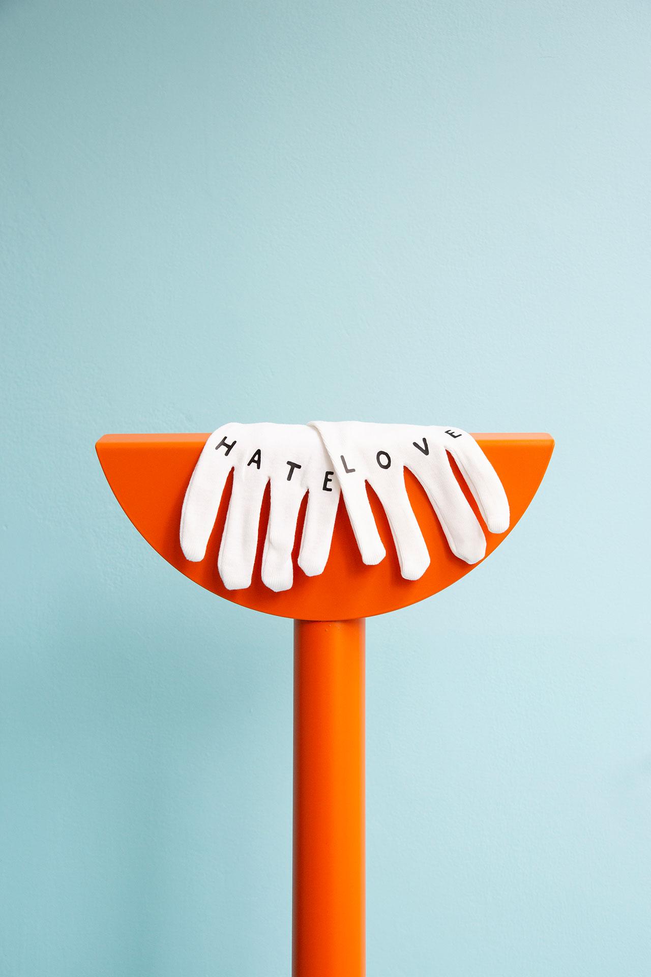 """Love & Hate"" gloves by Mathieu Mercier. Photography © Émile Kirsch."