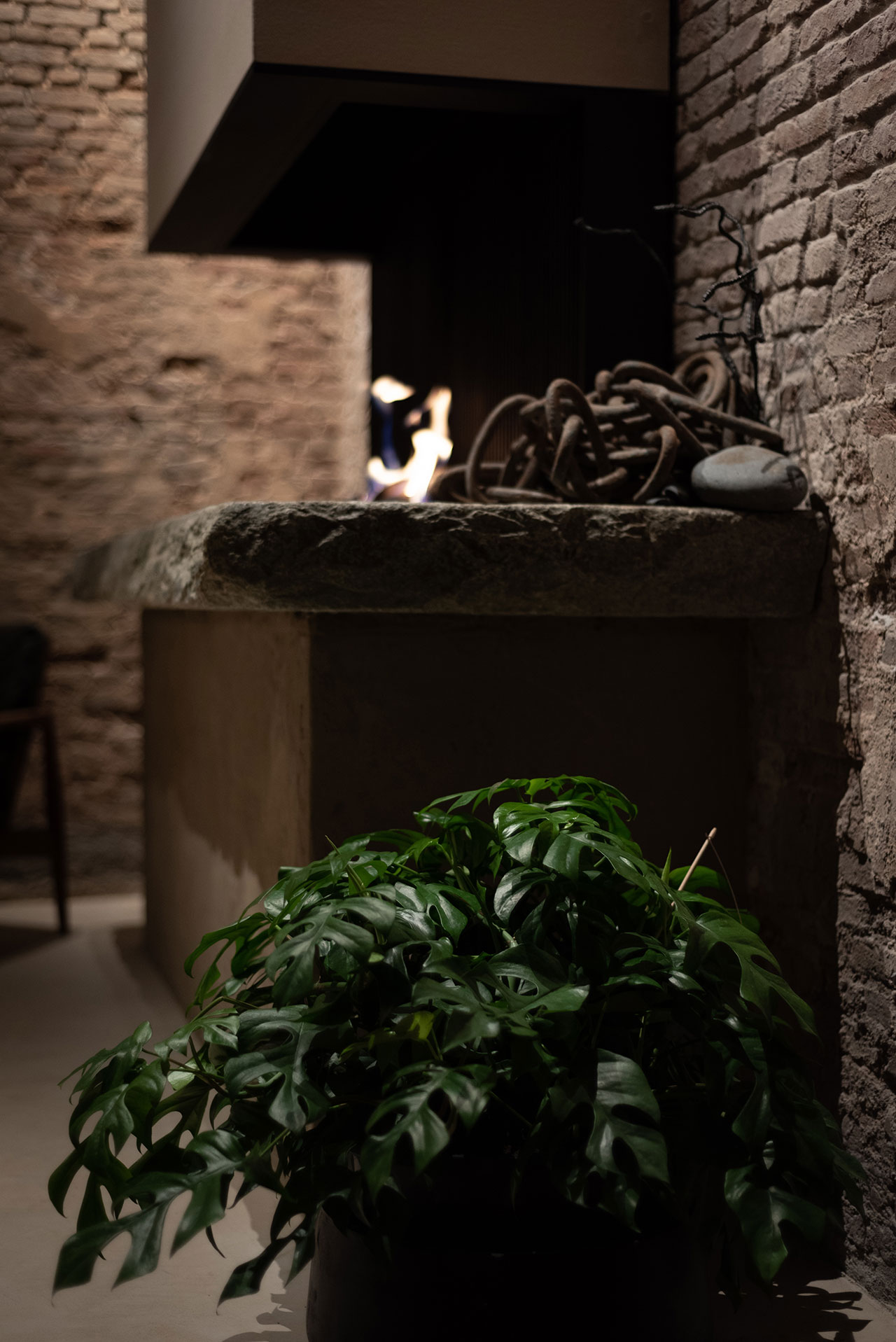 STABLE restaurant designed by Dieter Vander Velpen. Fireplace designed by Arno De Clerck. Photo by Patricia Goijens.