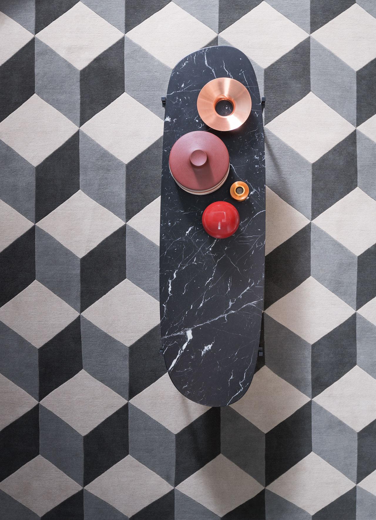 Niobe small tableswith black Marquinia Carrara orEmperadormarble topsdesigned by Federica Capitani for Zanotta.Set Design, styling: Studio Salaris, Photo: Beppe Brancato & Leo Torri. Photo courtesy of Zanotta, 2016.