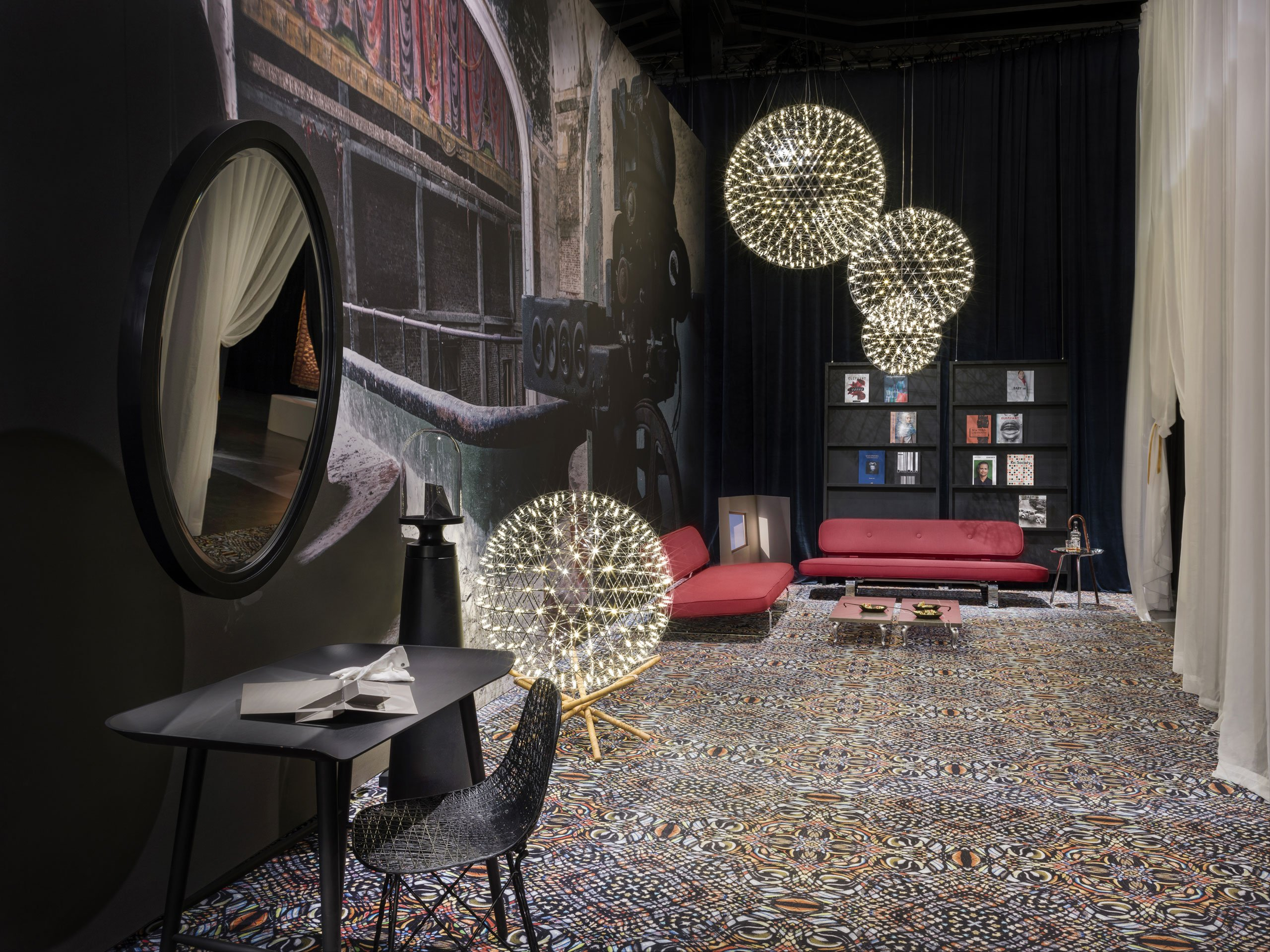 The presenattion of Moooi's new creations at via Savona 56, Milan with oversized prints by the young British art photographer Rebecca Bathory.