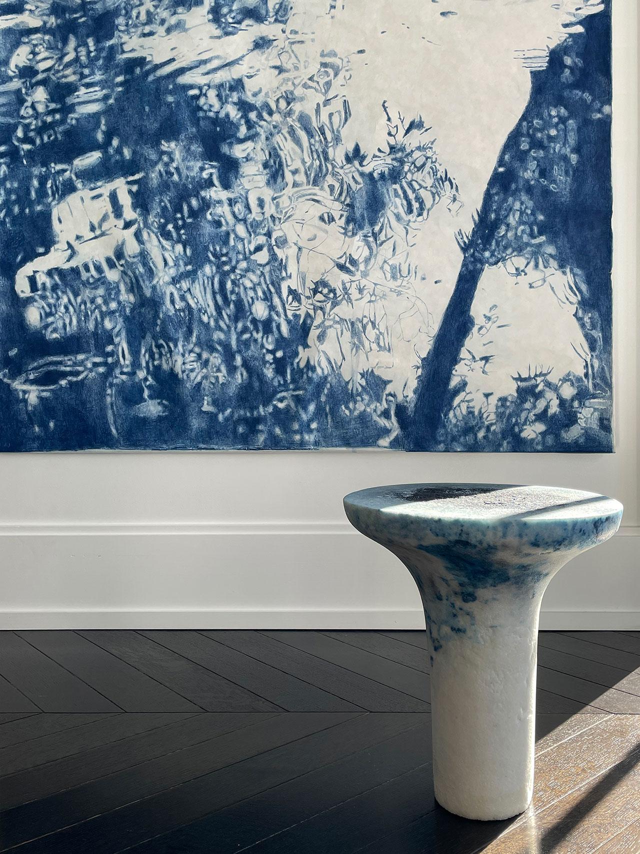 Galerie Philia at Walker Tower, Chelsea, New York. Courtesy of Galerie Philia. Featured: Flora Temnouche, Portraits de Rousseau. Pencil on japanese paper. 150 × 200 cm. Roxane Lahidji,Salt Gueridon, 2019.Marbled Salt.