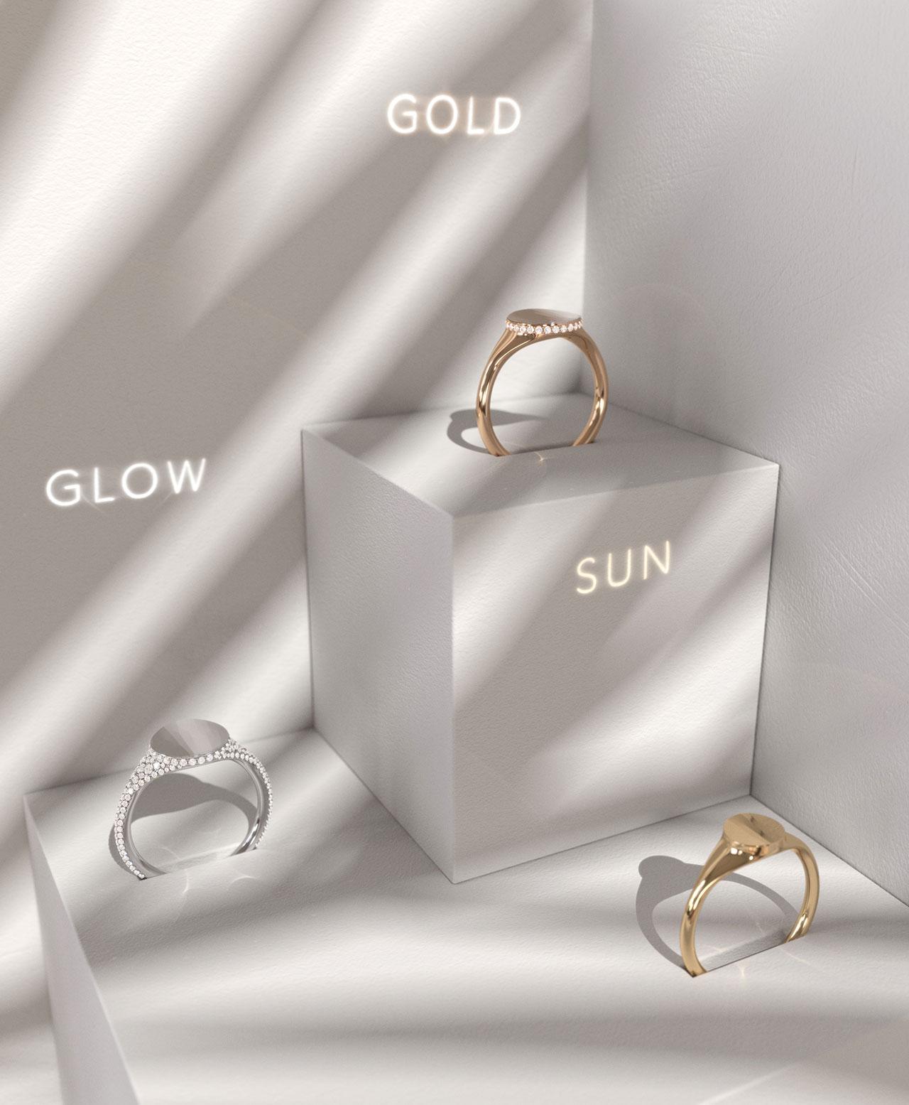 Dot Snow Ring GLOW, Dot Crown Ring GOLD & Dot Ring SUN © THE RAYY