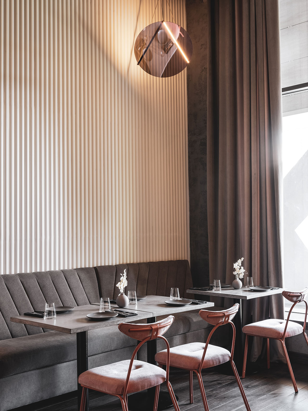 Polet Café by Asthetique in Moscow, Russia. Photography by Mikhail Loskutov.