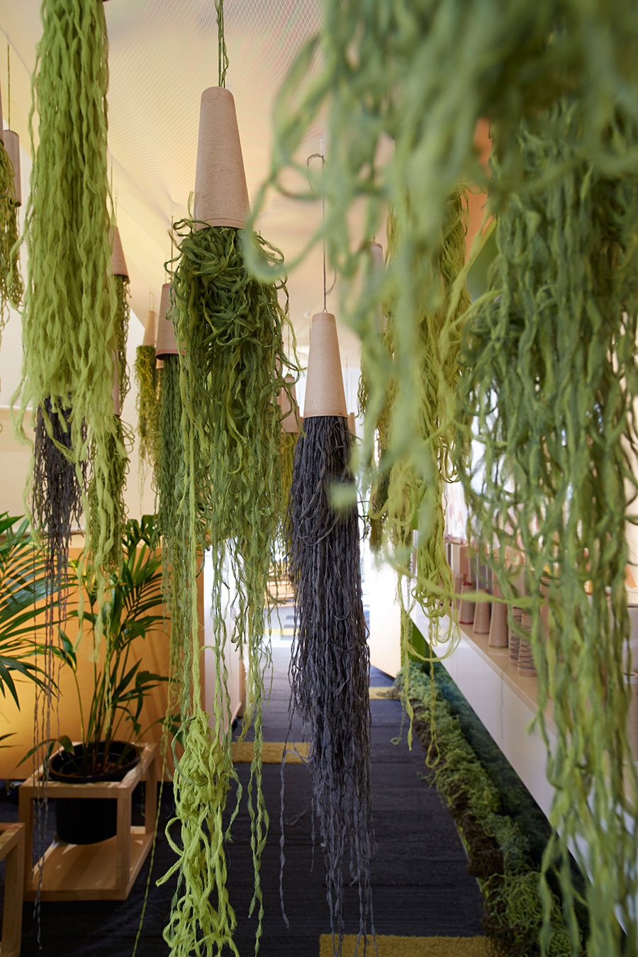 A forest of tactile hanging fibres encouraged visitors to clear their mind and reconnect with their creative side. Photo courtesy of Interface
